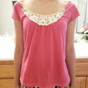 Pink Blouse with White Lace Collar
